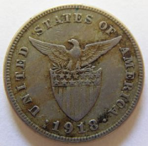 front view: 1918 Philippines 5 Centavo or Mule ??