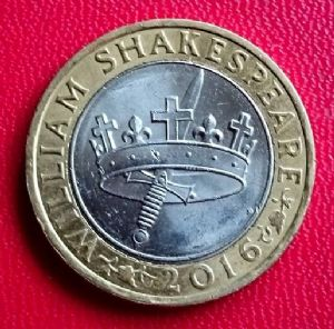 front view: 2016 £2 coin The Shakespeare Histories 2016