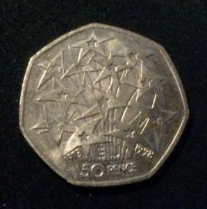 rear view: 1998 1998 50p Coin,United Kingdom's Presidency of the European Union