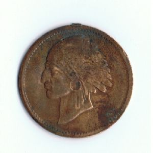 front view: 1900 unknown indian-eagle medal