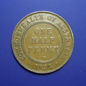 front view: 1934 Half Penny, George V