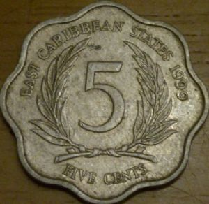 front view: 1999 Eastern Carribbean State 5 cent