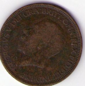 front view: 1932 George V Half Penny