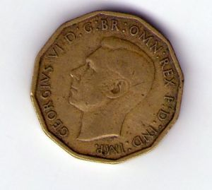 front view: 1944 George VI Three Pence