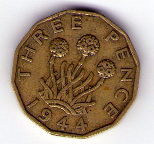 rear view: 1944 George VI Three Pence