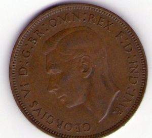 front view: 1947 George VI One Penny