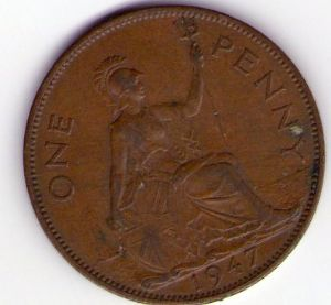 rear view: 1947 George VI One Penny