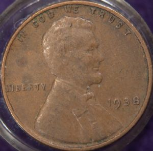 front view: 1938 USA 1938 Wheat Back Cent