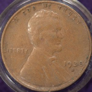 front view: 1938 1938 S USA Wheat Back Cent