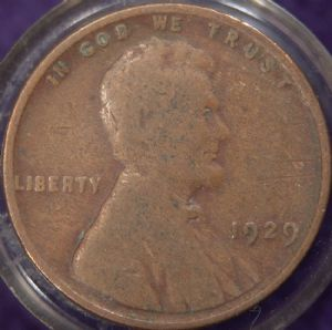front view: 1929 USA 1929 Wheat Back Cent