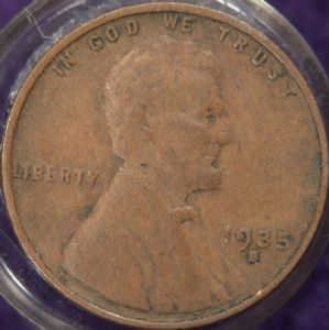 front view: 1935 USA 1935 S Wheat Back Cent