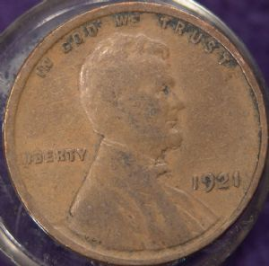 front view: 1921 USA 1921 Wheat Back Cent