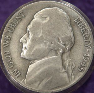front view: 1945 USA 1945 D Silver Nickel