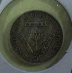 rear view: 1950 South Africa threepence 1950