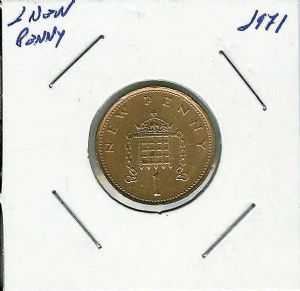 front view: 1971 1 new penny