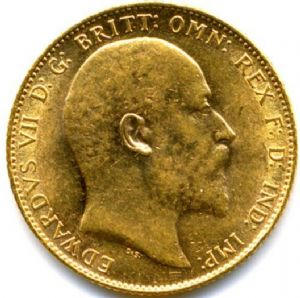 front view: 1910 FULL 22ct GOLD SOVEREIGN COIN EDWARD VII