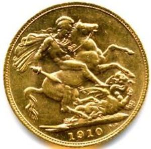 rear view: 1910 FULL 22ct GOLD SOVEREIGN COIN EDWARD VII