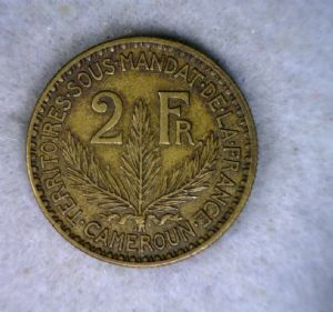 rear view: 1925 Cameroon 2 Francs - 1925