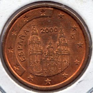 front view: 2000 2 eurocent - Spain