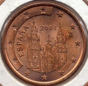 front view: 2001 5 eurocent - Spain