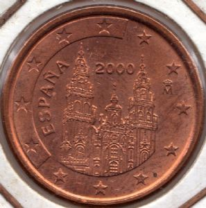 front view: 2000 5 eurocent - Spain